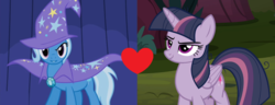 Size: 1304x500 | Tagged: safe, mean twilight sparkle, trixie, alicorn, pony, unicorn, boast busters, the mean 6, female, heart, lesbian, mare, mean twixie, shipping, shipping domino, twixie