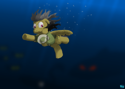 Size: 700x500 | Tagged: artist:quint-t-w, blurry background, bubble, daring do, glowing eyes, hat, holding breath, light, ocean, old art, ominous, pegasus, pith helmet, pony, safe, sea monster, swimming, underwater