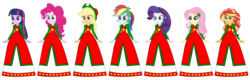 Size: 1024x327 | Tagged: alicorn, applejack, artist:cartoonmasterv3, christmas, clothes, equestria girls, fluttershy, holiday, human, humane five, humane seven, humane six, long skirt, long skirt fetish, pinkie pie, rainbow dash, rarity, safe, simple background, skirt, sunset shimmer, transparent background, twilight sparkle, twilight sparkle (alicorn), vector