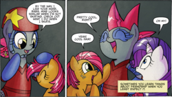 Size: 1459x825 | Tagged: safe, artist:agnesgarbowska, idw, babs seed, rarity, shadowsmacks, friends forever, spoiler:comic, spoiler:comicff13, mohawk