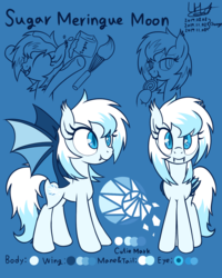 Size: 1200x1500 | Tagged: artist:livehotsun, bat pony, female, mare, oc, oc only, oc:sugar meringue moon, pony, reference sheet, safe, solo