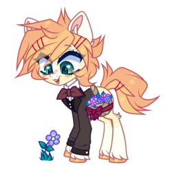 Size: 4024x4024 | Tagged: absurd resolution, artist:pidge--podge, clothes, flower, male, oc, oc:finnian, pony, safe, simple background, solo, stallion, suit, transparent background