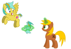 Size: 6500x4500 | Tagged: absurd resolution, artist:northernthestar, female, magic, male, mare, oc, oc:cinnamon, oc only, oc:shockie, pegasus, pony, safe, simple background, stallion, transparent background, unicorn
