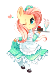 Size: 600x854 | Tagged: safe, artist:ipun, fluttershy, pegasus, pony, bipedal, cake, clothes, cloven hooves, colored hooves, cute, deviantart watermark, dress, female, fluttermaid, food, heart, maid, mare, milkshake, obtrusive watermark, one eye closed, open mouth, part of a set, shyabetes, simple background, solo, transparent background, tray, watermark, wink