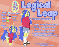 Size: 1393x1119   Tagged: safe, artist:redxbacon, oc, oc only, oc:logical leap, pony, unicorn, anthro, plantigrade anthro, anthro oc, anthro with ponies, clothes, cute, female, glasses, grin, hairband, mare, miniskirt, ocbetes, reference sheet, sandals, shy, shy smile, skirt, smiling, socks, solo, sweater