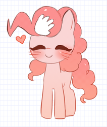 Size: 558x658 | Tagged: safe, artist:witchette, pinkie pie, earth pony, pony, blushing, cute, diapinkes, disembodied hand, eyes closed, female, hand, heart, mare, petting, smiling, solo