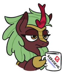 Size: 531x610 | Tagged: artist:jargon scott, cinder glow, female, flammable, frown, glare, hoof hold, kerosene, kirin, lidded eyes, mug, safe, simple background, solo, summer flare, tired, wat, white background