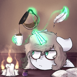 Size: 1280x1280 | Tagged: safe, artist:urbanqhoul, oc, oc only, oc:specter wisp, pony, unicorn, bags under eyes, book, candle, coffee, coffee mug, feather, female, green eyes, levitation, magic, mare, messy mane, mug, solo, telekinesis, unamused, white coat