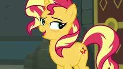 Size: 1920x1080 | Tagged: safe, artist:katakiuchi4u, edit, edited screencap, screencap, sunset shimmer, pony, unicorn, equestria girls, equestria girls series, forgotten friendship, female, freckles, mare, open mouth, peppered bacon, smiling, solo