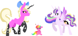 Size: 4940x2280   Tagged: safe, artist:nootaz, oc, oc:prince bloodshed, oc:princess collective, oc:queen mary sue, alicorn, pony, alicorn oc, donut steel, toddler