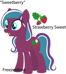Size: 3300x3705   Tagged: safe, derpibooru exclusive, sweetberry, oc, pony, base used, cutie mark, food, g3, g3 to g4, generation leap, simple background, solo, strawberry, text, transparent background