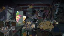 Size: 2880x1609 | Tagged: animal, applejack, blep, book, cat, cheetah, clutter, collar, derp cat, earth pony, female, flower pot, goldie delicious, goldie delicious' cats, goldie delicious' house, hoarder, mare, pinkie apple pie, pinkie pie, pony, safe, screencap, siamese cat, silly, tongue out, trumpet