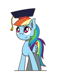 Size: 1350x1800 | Tagged: safe, artist:flutterluv, rainbow dash, pegasus, pony, cute, dashabetes, female, graduation cap, hat, mare, simple background, smiling, transparent background