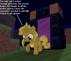 Size: 728x624 | Tagged: safe, artist:jan, sweetie belle, pony, unicorn, don't mine at night, cropped, dialogue, diamond pickaxe, female, filly, foal, glowstone, jewelry, luster dust, minecraft, mouth hold, nether portal, pickaxe, portal, sweetie gold, tiara