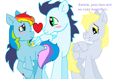 Size: 1051x688 | Tagged: artist:cargirl9, derpy hooves, female, male, rainbow dash, safe, shipping, soarin', soarindash, straight