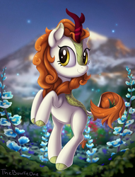 Size: 1576x2060 | Tagged: safe, artist:thebowtieone, autumn blaze, kirin, sounds of silence, awwtumn blaze, bipedal, cloven hooves, colored hooves, cute, female, flower, foal's breath, looking at you, solo