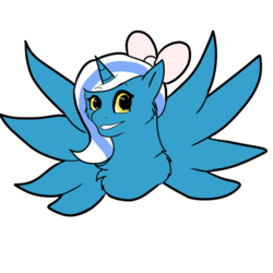 Size: 894x894   Tagged: safe, oc, oc only, oc:fleurbelle, alicorn, pony, adorabelle, alicorn oc, bow, cute, female, hair bow, long hair, long mane, mare, ribbon, smiling, spread wings, wings, yellow eyes