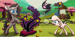 Size: 7000x3500 | Tagged: safe, artist:elite-bean-dip, oleander, pom lamb, classical unicorn, dog, lamb, sheep, unicorn, them's fightin' herds, body horror, cloven hooves, community related, dark magic, eldritch abomination, eldritch horror, leonine tail, lovecraft, magic, necronomicon, net, puppy, tennis ball, tennis racket, unicornomicon, unshorn fetlocks