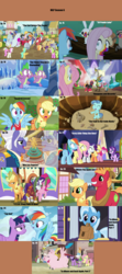 Size: 1760x3958 | Tagged: safe, artist:nightshadowmlp, edit, edited screencap, screencap, angel bunny, applejack, big macintosh, crackle pop, crimson skate, daisy, derpy hooves, diamond tiara, discord, flower wishes, fluttershy, gladmane, petunia paleo, pinkie pie, rainbow dash, randolph, rarity, snips, snips' dad, spike, sugar stix, sunshower raindrops, tender brush, thorax, train tracks (character), trixie, twilight sparkle, twinkleshine, winter lotus, alicorn, pigasus, pony, 28 pranks later, buckball season, dungeons and discords, every little thing she does, ppov, season 6, the cart before the ponies, the fault in our cutie marks, the times they are a changeling, to where and back again, top bolt, viva las pegasus, where the apple lies, applejack's hat, applewood derby, calypso, cart, carts, cookie zombie, cowboy hat, cute, debris, diatrixes, disguise, disguised changeling, female, hat, helmet, male, mane six, mare, mind control, mlp season compilation, our town, season 6 compilation, stallion, stetson, teenage applejack, teenage big macintosh, teenager, twilight sparkle (alicorn), wall of tags, wreckage, younger