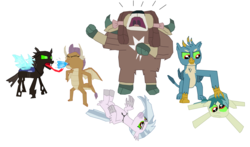 Size: 6712x3936   Tagged: safe, artist:megasean45, gallus, ocellus, sandbar, silverstream, smolder, yona, changedling, changeling, classical hippogriff, dragon, earth pony, griffon, hippogriff, pony, yak, leak, spoiler:s09, angry, bow, brainwashed, cloven hooves, colored hooves, colored sclera, cursed, discorded, dragoness, fake, fanart, female, fight, fire, fire breath, green eyes, green sclera, hair bow, hissing, jewelry, jossed, male, meme, monkey swings, necklace, pre changedling ocellus, rage, rage face, simple background, sombra eyes, student six, teenager, theory, white background, yelling