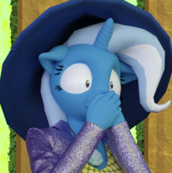 Size: 432x436 | Tagged: safe, artist:tahublade7, trixie, anthro, unicorn, 3d, clothes, cropped, female, hat, shocked, shoes, solo, wide eyes