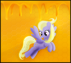 Size: 3240x2880 | Tagged: artist:startledflowerpony, bee, female, food, honey, las pegasus resident, mare, pegasus, pony, safe, solo, sweet buzz