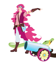 Size: 1536x1728 | Tagged: alligator, artist:floverale-hellewen, boots, cannon, clothes, cutie mark, goggles, gummy, human, humanized, match, party cannon, pinkie pie, safe, satchel, shoes, simple background, smiling, vest, white background