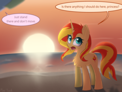 Size: 2175x1643 | Tagged: artist:puetsua, chest fluff, equestria girls, female, looking back, mare, namesake, open mouth, pony, pun, safe, speech bubble, sun, sunset, sunset shimmer, sunshine shimmer, unicorn, visual pun