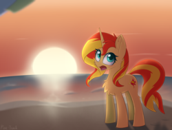 Size: 2175x1643 | Tagged: artist:puetsua, chest fluff, equestria girls, female, looking back, mare, namesake, open mouth, pony, safe, solo, sun, sunset, sunset shimmer, sunshine shimmer, unicorn