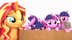 Size: 4088x2300 | Tagged: safe, artist:flushthebatsanta, sunset shimmer, twilight sparkle, alicorn, pony, unicorn, 3d, :p, book, box, cute, female, head tilt, hnnng, looking at you, mare, micro, mlem, mouth hold, multeity, nom, open mouth, peeking, pony in a box, silly, silly pony, simple background, size difference, smiling, sparkle sparkle sparkle, tiny, tiny ponies, tongue out, transparent background, twiabetes, twilight sparkle (alicorn)