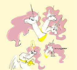 Size: 3716x3380 | Tagged: safe, artist:alumx, princess celestia, alicorn, pony, female, food, mare, pink-mane celestia, simple background, solo, tea, yellow background