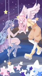 Size: 1440x2560 | Tagged: alicorn humanization, artist:魔法绚烂美少年, boots, clothes, crown, dress, female, horned humanization, human, humanized, jewelry, pink-mane celestia, princess celestia, princess luna, regalia, royal sisters, safe, shirt, shoes, suspenders, winged humanization, wings