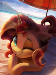 Size: 3000x4000 | Tagged: safe, artist:vanillaghosties, sunset shimmer, pony, unicorn, :p, beach, beach umbrella, blurry background, cloud, cute, detailed, eyelashes, female, floppy ears, high res, hnnng, horn, looking at you, mare, ocean, one eye closed, outdoors, prone, sand, shimmerbetes, silly, smiling, solo, tongue out, umbrella, water, wink