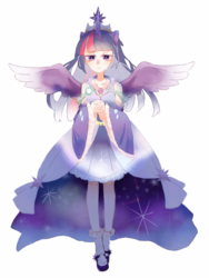 Size: 960x1280 | Tagged: alicorn, alicorn humanization, alternate version, artist:旗桦, clothes, crown, dress, female, horned humanization, human, humanized, jewelry, regalia, safe, solo, twilight sparkle, twilight sparkle (alicorn), winged humanization, wings