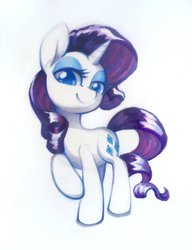 Size: 640x834   Tagged: safe, artist:dawnfire, rarity, pony, unicorn, female, looking at you, mare, marker drawing, raised hoof, simple background, smiling, solo, traditional art, white background