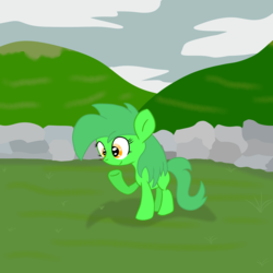 Size: 3000x3000 | Tagged: safe, artist:bigmackintosh, oc, oc only, oc:chic pea, bee, pony, female, filly, foal, shireland, solo