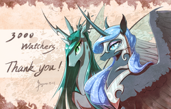 Size: 1753x1116 | Tagged: safe, artist:begasus, nightmare moon, queen chrysalis, alicorn, changeling, changeling queen, pony, chrysmoon, female, lesbian, mare, milestone, shipping, signature, smiling