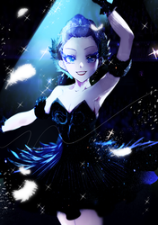 Size: 1165x1653 | Tagged: safe, artist:廢海夜權, rarity, equestria girls, armpits, ballerina, ballet, bare shoulders, beautiful, clothes, dress, female, looking at you, makeup, skirt, sleeveless, solo, strapless, swan lake, tutu