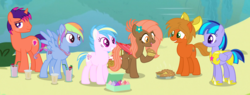Size: 6738x2560   Tagged: safe, artist:razorbladetheunicron, oc, oc only, oc:caramel ambrosia, oc:chocolate strawberry, oc:confetti balloon, oc:dewdrop glisten, oc:iridescent garnet, oc:skyline wonder, bat pony, earth pony, hybrid, pegasus, pony, unicorn, lateverse, alternate universe, armor, base used, bow, braid, braided tail, cupcake, cutie mark, drink, female, flower, flower in hair, food, group, hoof shoes, lake, male, mare, next generation, offspring, parent:applejack, parent:cloudchaser, parent:flash sentry, parent:fluttershy, parent:oc:pumpkin moon, parent:rainbow dash, parent:twilight sparkle, parents:canon x oc, parents:flashlight, parents:rainbowchaser, pie, royal guard, royal guard armor, stallion