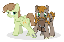 Size: 1024x680 | Tagged: artist:icaron, earth pony, facial hair, farrier, female, horseshoes, male, moustache, oc, oc only, oc:saga, pegasus, pony, safe, vector