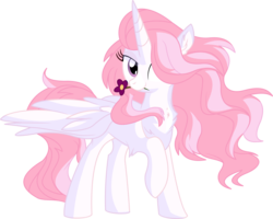Size: 7318x5845 | Tagged: safe, artist:aureai-sketches, artist:cyanlightning, princess celestia, alicorn, pony, .svg available, absurd resolution, chest fluff, cute, ear fluff, female, flower, lidded eyes, mare, mouth hold, pink-mane celestia, raised hoof, simple background, solo, spread wings, transparent background, vector, wings