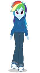 Size: 2700x4850 | Tagged: artist:razethebeast, clothes, equestria girls, female, hoodie, pants, rainbow dash, safe, simple background, smiling, solo, transparent background
