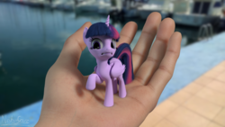 Size: 1920x1080 | Tagged: 3d, alicorn, artist:nebulafactory, blender, cute, frown, gritted teeth, hand, holding a pony, human, in goliath's palm, irl, looking at you, micro, offscreen character, photo, ponies in real life, pony, pov, safe, scared, solo focus, tiny, tiny ponies, twiabetes, twilight sparkle, twilight sparkle (alicorn), water, wide eyes