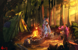 Size: 4000x2554 | Tagged: safe, artist:alumx, rainbow dash, scootaloo, pegasus, pony, berries, campfire, camping, campsite, crepuscular rays, cute, cutealoo, dashabetes, female, filly, food, forest, happy, hoof hold, log, looking up, mare, marshmallow, mouth hold, nature, open mouth, outdoors, pot, scenery, scootalove, signature, sitting, smiling, stick, tent, tree