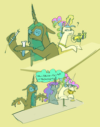 Size: 1495x1895 | Tagged: safe, artist:alumx, princess celestia, princess luna, queen chrysalis, alicorn, changeling, changeling queen, pony, cheeselegs, chemistry, dork, dorkalis, emoji, erlenmeyer flask, female, glasses, hand, magic, magic hands, mare, mundane utility, royal sisters, school, science in the comments, simple background, speech bubble, tape, telekinesis, test tube, thinking, thinking emoji, trio, yellow background