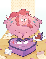 Size: 1485x1875 | Tagged: safe, artist:secretgoombaman12345, pinkie pie, twilight sparkle, pony, abstract background, balloonbutt, butt, cake, cake slice, cellular peptide cake (with mint frosting), fat, fetish, food, food transformation, heart, holiday, inanimate tf, obese, pudgy pie, tongue out, transformation, twicake, valentine's day, vore, worried