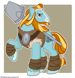Size: 1425x1474 | Tagged: artist:redpalette, beard, clothes, earth pony, facial hair, hoof wraps, looking at you, male, moustache, pillar, pony, rockhoof, rockhoof's shovel, safe, shovel, solo, stallion