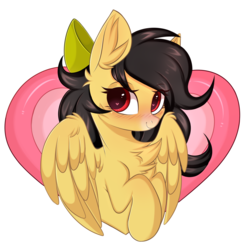 Size: 2598x2680 | Tagged: safe, artist:pesty_skillengton, oc, oc only, oc:radiant light, pony, bow, bust, cute, heart eyes, holiday, love, solo, valentine, valentine's day, wingding eyes, ych result