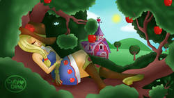 Size: 1192x670 | Tagged: safe, artist:cutydina, applejack, human, equestria girls, equestria girls (movie), apple, apple tree, applebetes, bare shoulders, barn, bedtime, blue sky, boots, clothes, cute, cutydina is trying to kill us, cutydina is trying to murder us, daaaaaaaaaaaw, dress, eyes closed, fall formal outfits, feels, female, food, goodnight, grin, hnnng, holding, jackabetes, nap time, naptime, sad, sadorable, shoes, sleeping, sleeveless, sleeveless dress, smiling, solo, strapless, strapless dress, sun, sunny day, sweet apple acres, sweet dreams fuel, tree, tree branch, weapons-grade cute