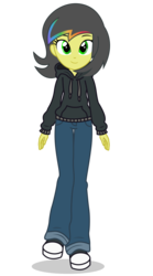 Size: 2700x4850 | Tagged: artist:razethebeast, clothes, equestria girls, equestria girls-ified, female, hoodie, oc, oc:pauly sentry, pants, safe, shoes, simple background, solo, transparent background